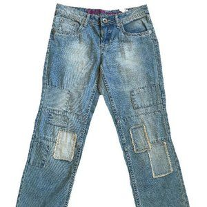 Justice Girls Patch Distressed Jeans Size 10.5